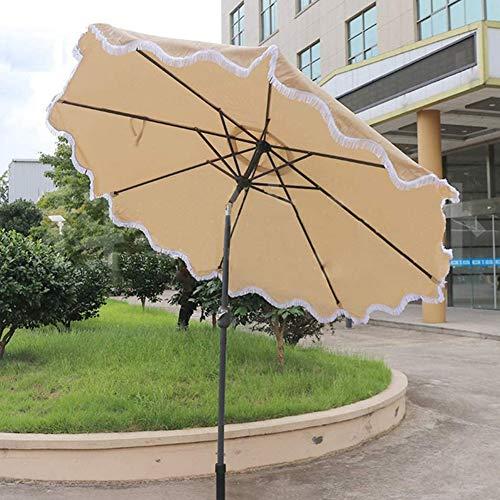 CYY Sombrilla de Patio Al Aire Libre con 8 Varillas Resistentes,para Mercado Jardín Patio Balcón Piscina,Sombrilla de Playa Redondo con Mecanismo de Inclinación y Manivela(Altura:2.5 M)