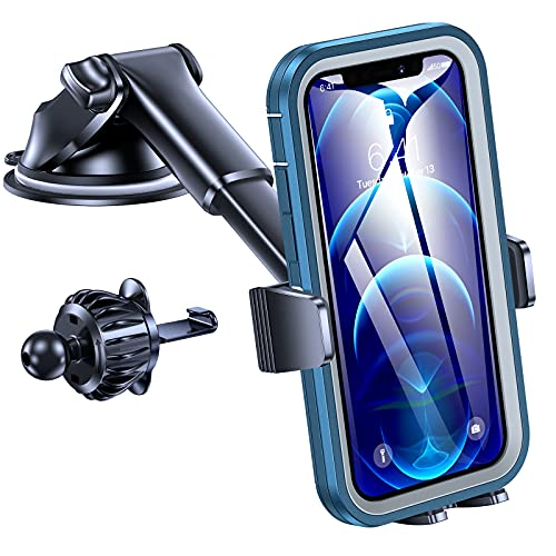 POLEET Car Phone Holder Mount,Universal 3-in-1 Phone Holder for Car Cell Phone Holder for Dash,Windshield&Vent Car Phone Holder One Hand Operation Suitable with iPhone11Pro Max XR SE Samsung Pixel