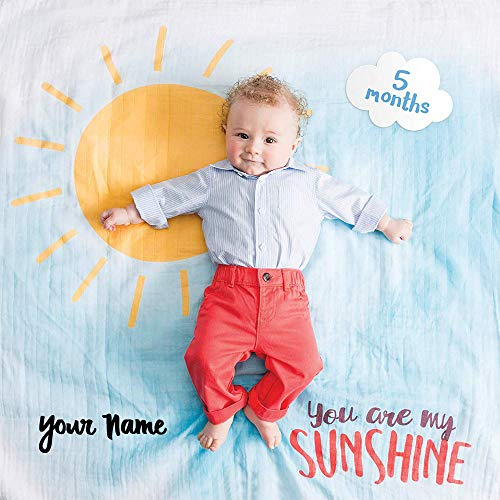 lulujo Personalized Baby's First Year You are My Sunshine Sun and Cloud Print Baby Boy or Girl Growth Blanket and Month Milestone Cards Set with Name