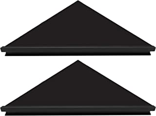 Evron Wall Mount Corner Shelf,Easy to Install Metal Front Floating Corner Shelf with Self-Adhesive Tapes (Black Frosting Right-Angled Set of 2)