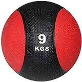 POWRX Balón Medicinal 9 kg - Ideal para Entrenamiento Funcional, Fisioterapia y Gimnasia - Relleno de Aire con Efecto Rebote + PDF Workout (Negro/Rojo)