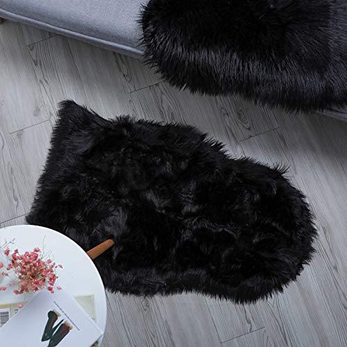HLZDH oveja de piel sintética Felpudo alfombra Antideslizante Lujosa Suave Lana artificial Alfombra para salón dormitorio baño sofá silla cojín (90 X 60 CM, Negro)
