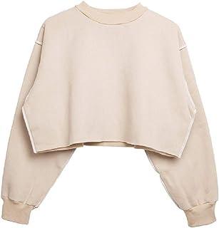 Winwinus Women Fleece Pullover Fall Winter Solid Color Batwing Sweatshirt