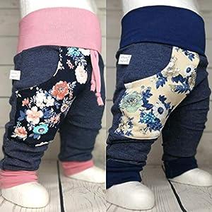 Baby Pumphose mit Tasche Gr. 50-104 Blüten Jeansoptik handmade Puschel-Design