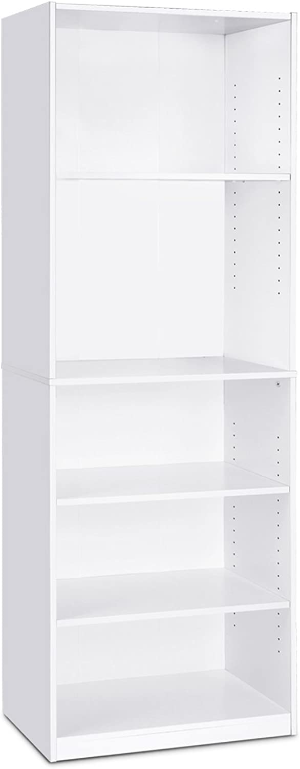 Furinno Jaya Simple Home 5-Shelf Bookcase, White