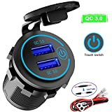 Quick Charge 3.0 Dual USB Charger Socket, Waterproof 12V/24V QC3.0 Dual USB Fast Charger Socket Power Outlet...