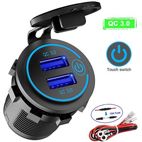 QC 3.0 Auto USB Steckdose 12V/24V mit Schalter, Quick Charge 3.0 KFZ Ladegerät Einbau Buchse Wasserdicht Zigarettenanzünder USB Dose 36W für Motorrad Boot LKW Wohnwagen ATV