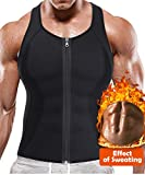 BRABIC Hot Sauna Sweat Suits,Zipper Closure Tank Top Shirt for Weight Lost,Waist Trainer Vest Slim Belt Workout Fitness-Breathable, Neoprene Fabric (Black Sauna Tank Top, L)