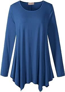 Larace Womens Long Sleeve Flattering Comfy Tunic Loose Fit Flowy Top (3X Steel Blue)
