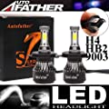 LED Headlight Bulbs H4 / HB2 / 9003 Hi Lo Dual Beam - 4 Sides 240W High Power 24000LM Super Bright 6000K White Headlamp/Fog Light/DRL Replacement Kit - Package of 2