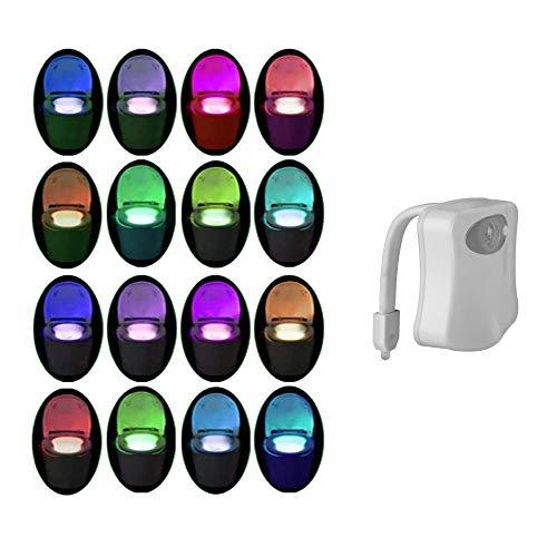 luz nocturna para baño inodoro PIR con Sensor de movimiento activado por movimiento , luz LED para baño, luz nocturna interior Toliet 16 que cambia de color, sensor de movimiento para baño a batería