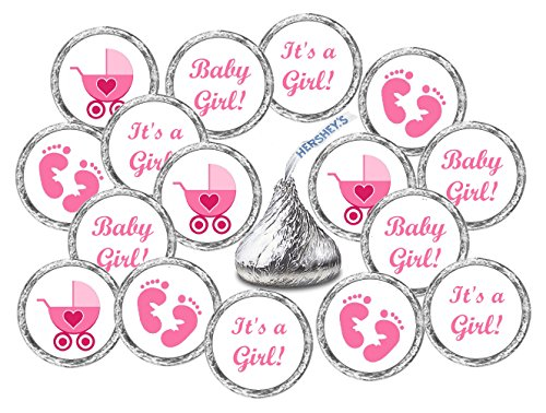 324 Pink Its a Girl Baby Shower Favors Stickers For Baby Shower Or Baby Sprinkle Party, Baby Shower Kisses Stickers, Baby Shower Pink Favors, Baby Shower Labels, Its a Girl Kisses