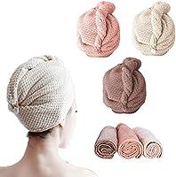 BangShou 3 Stuks Haar Tulband Haardroogdoek Tulband gemaakt van zacht gebreid koraal fleece Sneldrogende absorberende...