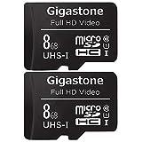 Gigastone 8 GB tarjeta Micro SD, vídeo FHD, cámara de acción de seguridad de vigilancia Drone profesional, 80 MB/s Micro SDXC UHS-I U1 Clase 10