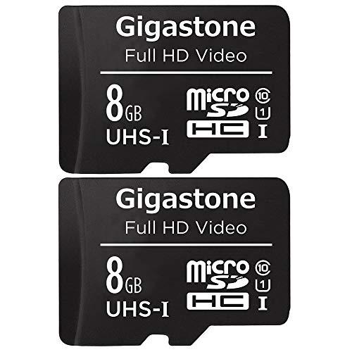 Gigastone 8GB 2-Pack Micro SD Karte, FHD Video, Überwachung Security Cam Action Kamera Drohne Professional, 80MB/s Micro SDXC UHS-I U1 Klasse 10