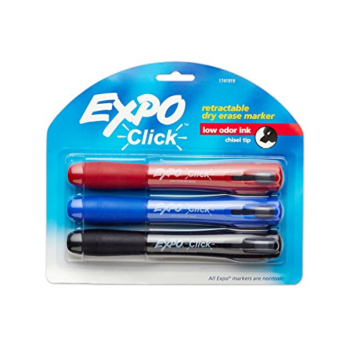 EXPO 1741919 Click Low-Odor Dry Erase Retractable Markers, Chisel Tip, Assorted Colors, 3-Count