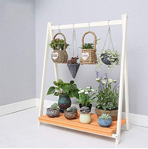 YINUO Support de fleur en bois massif motif de chair suspendu orchidée européen créatif multi-couche balcon stand de fleur vert (Size : 58x36x96cm)