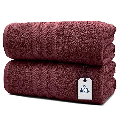 DAN RIVER 100% Cotton Bath Sheet Set of 2| Soft Bath Sheets| Oversized Bath Towels| Quick Dry Bath Sheets| Absorbent Bath Sheets| Bath Sheets Spa Hotel|Burgundy Bath Sheet Towel Set|35x70 in|550 GSM