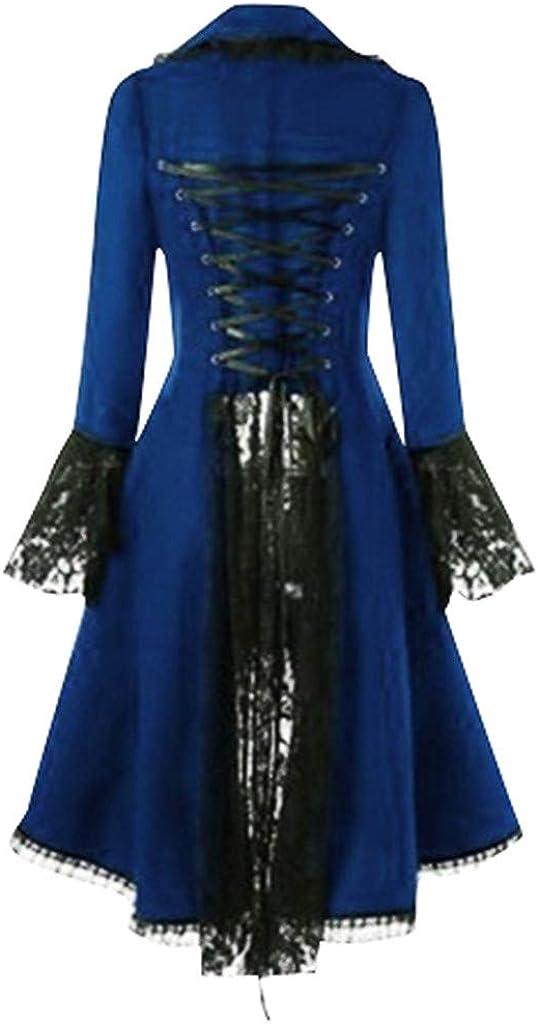 Womens Vintage Jackets Lace Patchwork Punk Irregular Gown Dresses Low-High Hem Gothic Nightclub Novelty Cardigans S-5XL