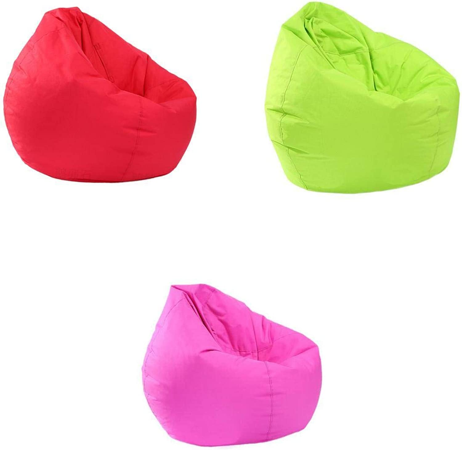 D DOLITY 3X Waterproof Bean Bag Cover Only Plush Toy Storage Holder Red & Green & Hot Pink