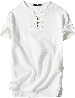[エムエルーセ] [サマーセール]カジュアル Tシャツ 半袖 3ボタン リネンシャツ 綿麻 ヘンリーネック ビジネス 春 夏 無地 メンズ