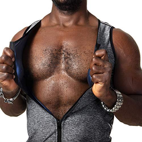 CZYAM Men Training Vest Hot Sweat Suana Slimming Body Shaper Zipper Tank Top Workout Suit Gray
