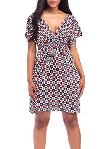 Vestido Mujer Elegantes Cortos Vestidos Playa Verano Moda Casual Impresión Manga Corta V Cuello Vestidos Años 50 A-Lìnea Fiesta Dresses Señoras Vestidos Tallas Grandes (Color : Rojo  Size : M)