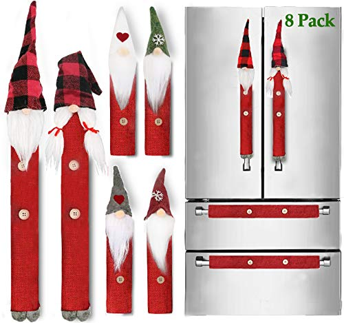 Christmas Refrigerator Handle Covers Set of 8 Kitchen Appliance Handle Covers for Kitchen Refrigerator Microwave Oven Dishwasher Decors, Xmas Indoor Décor, Xmas Home Decorations Party Favor Supplies