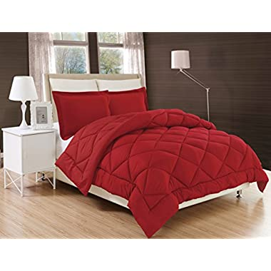 Gorgeous Home Down Alternative Comforter Bed Cover 2/3pc Set With Pillow Shams Ultra Soft Double Filled Stitched Quilted Solid Plain Light Weight Bedding Dressing (BURGUNDY OPAQUE, KING)