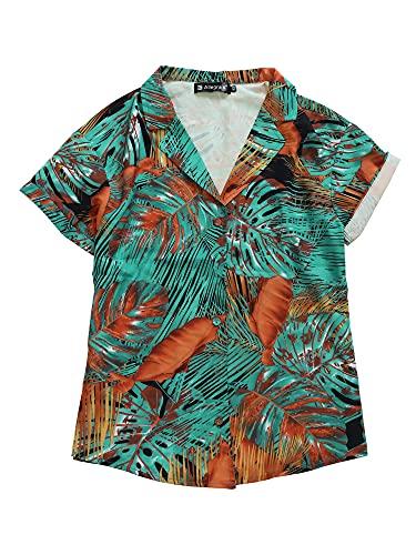 Allegra K Camisa Estampada con Hojas Florales Hawaianas Manga Corta Botón Abajo Vintage Blusa Top Playa para Mujeres Negro XL