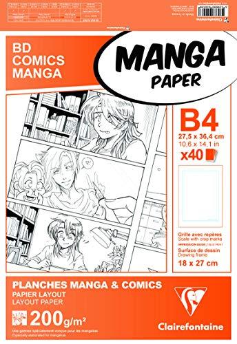 Clairefontaine 94046C Manga Multi-technique étui 40F 27,5x37,4cm 200g papier lisse Blanc - grille simple