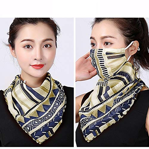Fanville Bandana Face Scarf Face Cover with Adjustable Ear Rope Neck Gaiters Chiffon...