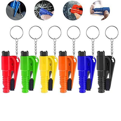 Gsupez 3-in-1-Auto-Life-Schlüsselbund, Auto-Sicherheitshammer, Mini-Fluchtschlüsselbund, Autositzgurtschneider mit Notfallpfeife Sichere Rettung für Flucht Rufen Sie schnell um Hilfe