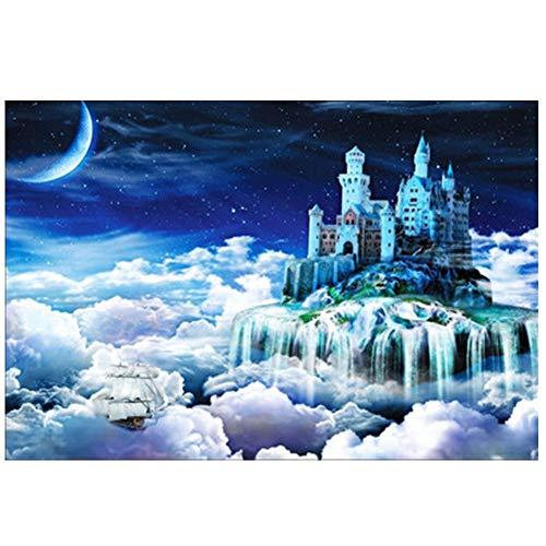 Houten puzzel in de mode voor volwassenen 1000 stukjes puzzel Fantasy Castle,Blue