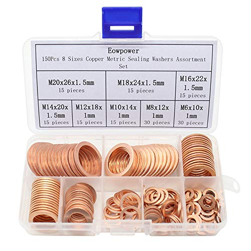 Eowpower 150Pcs 8 Sizes Copper Metric Sealing Flat Washers Assortment Set