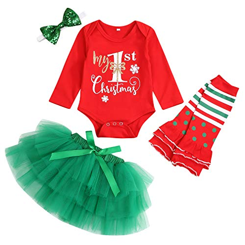 My First Christmas Outfit Baby Girl Long Sleeve Romper and Tutu Skirt Leg Warmers with Headband 4PCS Clothes Set (Red, 0-3 Months)