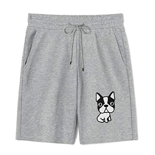 TIINTEXBA Puppy Dog Boston Terrier French Bulldog Mens Shorts with Pockets Casual Cotton Pajama Pants for Workout