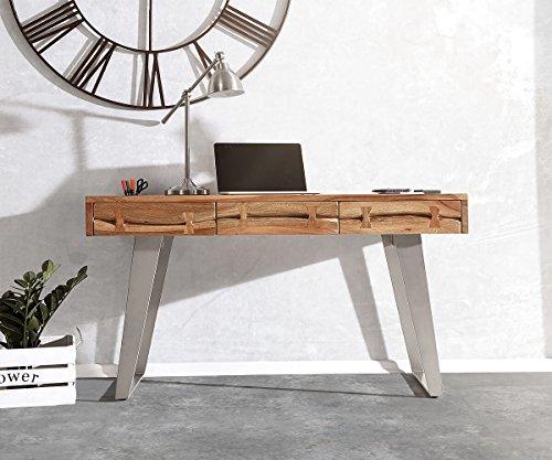 DELIFE Bürotisch Live-Edge Akazie Natur 137 cm Massivholz Baumkante Schreibtisch