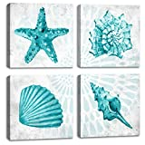 Bathroom Wall Decor Teal Watercolor Starfish and Seashell Conch Wall Art Sea Creatures Pictures Ocean Theme Canvas Prints for Bedroom Home Artwork Decor Paintings Framed Set 4 panels 12 x 12 inchs