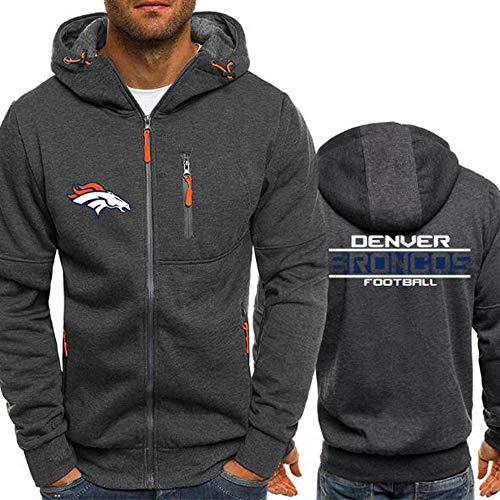 WZ NFL Football Kleidung - Denver Broncos Micro Velvet Warm Langarm-Zipper-Shirt, Hoodie Für Männer Und Frauen Herbst Und Winter,XL