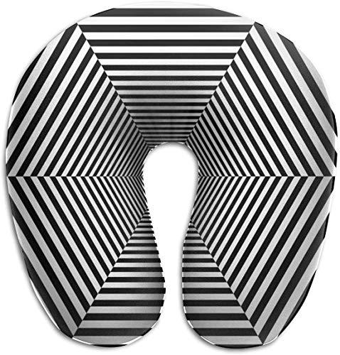 Nackenkissen aus Memory-Schaum, sechseckig, gestreift, Tunnel, U-Form, Reisekissen, ergonomisches konturiertes Design, waschbarer Bezug für Flugzeug, Zug, Auto, Bus, Büro