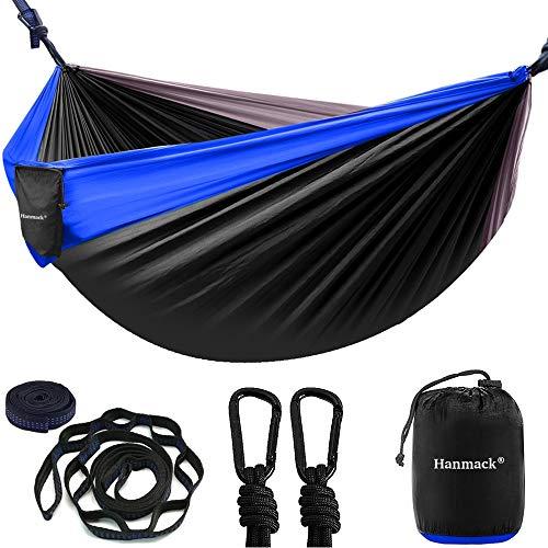 Camping Hammock, Double & Single Hammock with Tree Straps 8+1 Loops & Carabiners, Lightweight Nylon Parachute Hammock for Outdoor, Beach, Travel, Hiking, Garden, Yard Gear, Adult, Kids
