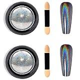Holographic Nail Powder 2-Pack Holo Powder for Nails Chrome Nail Powder Rainbow Unicorn Mirror Effect Glitter Dust Manicure Pigment Nail Art, 1g/Jar