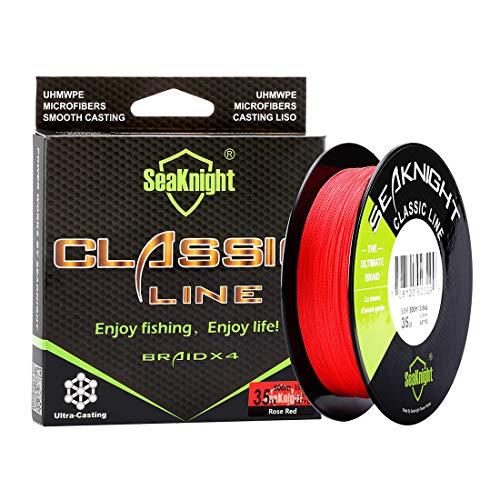 SeaKnight Classic 4 brins Tresse Fil de Peche 300M/500M Ligne tressée Super Plus Fins, Plus forts et Plus Lisse Ligne de pêche 6–36,3 Kilogram