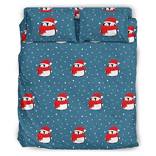 Xuanwuyi 4-teiliges Bettwäscheset mit weihnachtlichem Tiermotiv, atmungsaktiv, kühlend, schmutzabweisend, 4-teilig, für Zuhause, weiß, 240 x 264 cm