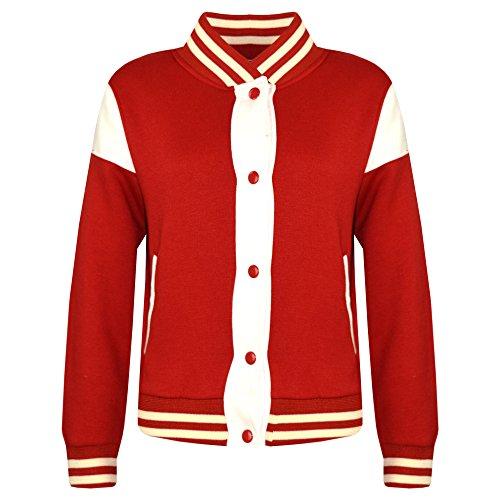 A2Z 4 Kids® Kinder Mädchen Jungen Baseball Jacke Varsity Stil - B.B Plain Jacket 001 Red 5-6