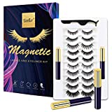 EARLLER Magnetic Eyelashes with Eyeliner Kit,10 Pairs Natural Look False Lashes with Applicator - Easy to Apply and No Glue Needed, 3D & 5D Reusable Short and Long Eyelashes Set