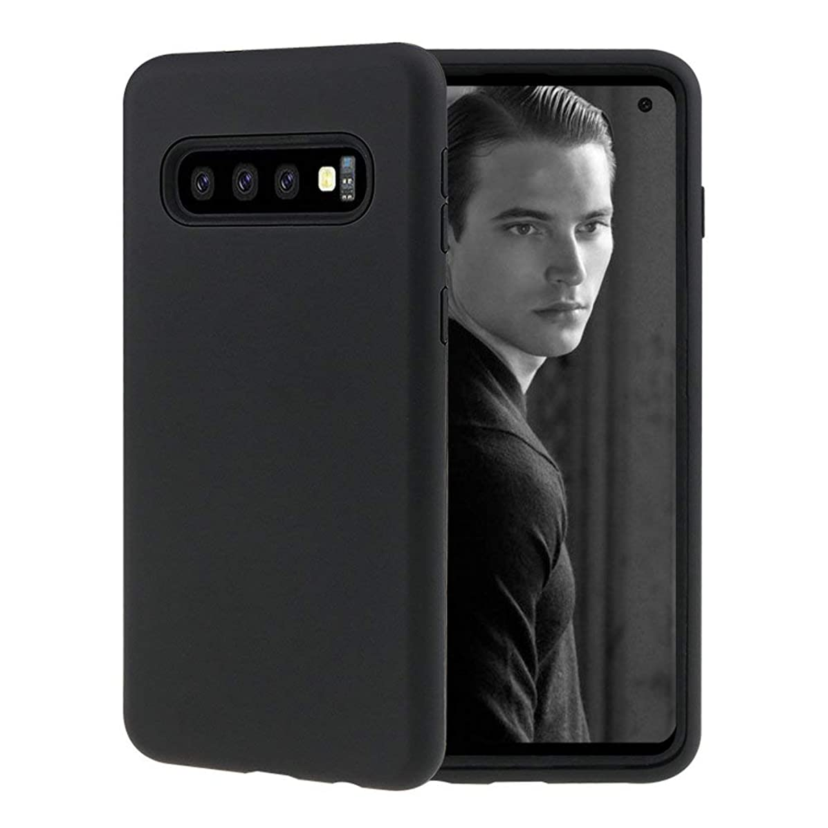 Aonet Compatible with Samsung Galaxy S10+ Phone Case, 3 in 1 Heavy Duty Hybrid Shock Absorption Anti-Scratch Phone Cover for Samsung Galaxy S10+ - Black