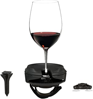 Outdoor Wine Glass Holder Accessories by Bella D'Vine – Includes Wine Stake For Picnics, Suction Base For Boats, Bath and Hot Tubs, Strap For Lawn Chairs – Great Wine Gift – Graphite Grey