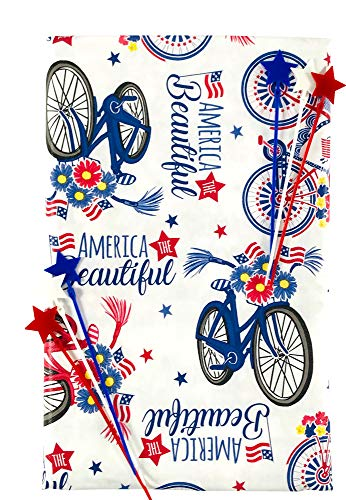 America The Beautiful Vinyl Tablecloth with Flannel Backing: Red White and Blue Country Flag Flowers Bicycle Parade Fun (60' Inch Diameter, Parade)